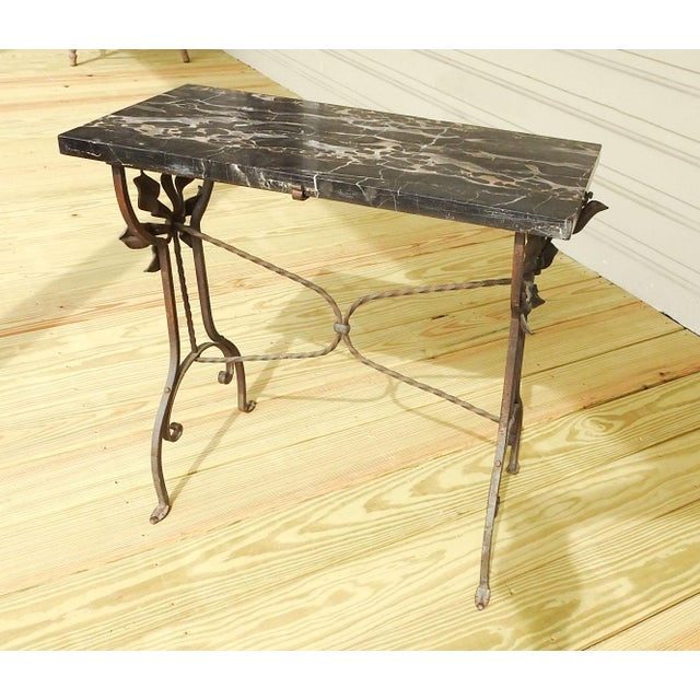 Iron Art Deco Iron Marble Top Hand Forged Side Table For Sale - Image 7 of 8
