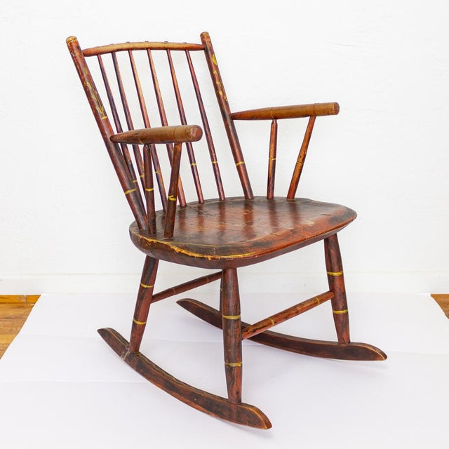 Grain Painted Spindle Back Rocking Chair | 19th Century Red Primitive Antique For Sale - Image 12 of 12