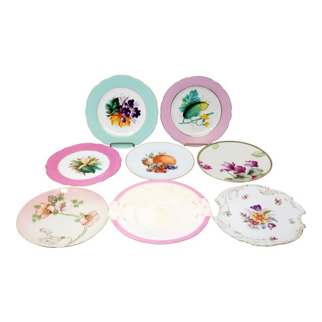 Antique Bavarian China Salad Plates - Curated Set of 8 For Sale