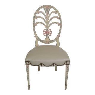 1980s Vintage Karges Hepplewhite Paint Decorated Side Chair For Sale