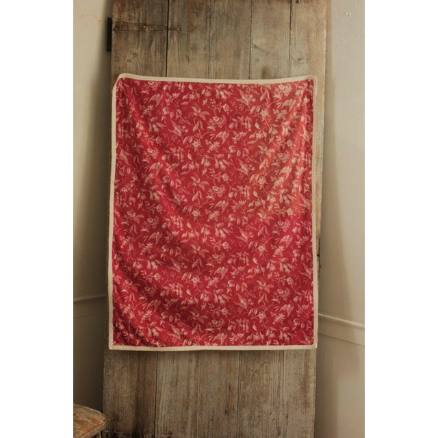 Antique French Pillement Inspired Red Resist Printed Textile Fabric With Ticking For Sale - Image 9 of 10