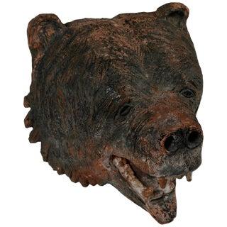 Terracotta Tete d'Ours Sculpture For Sale