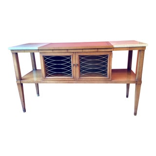 1960s Hollywood Regency Walnut Console Table For Sale