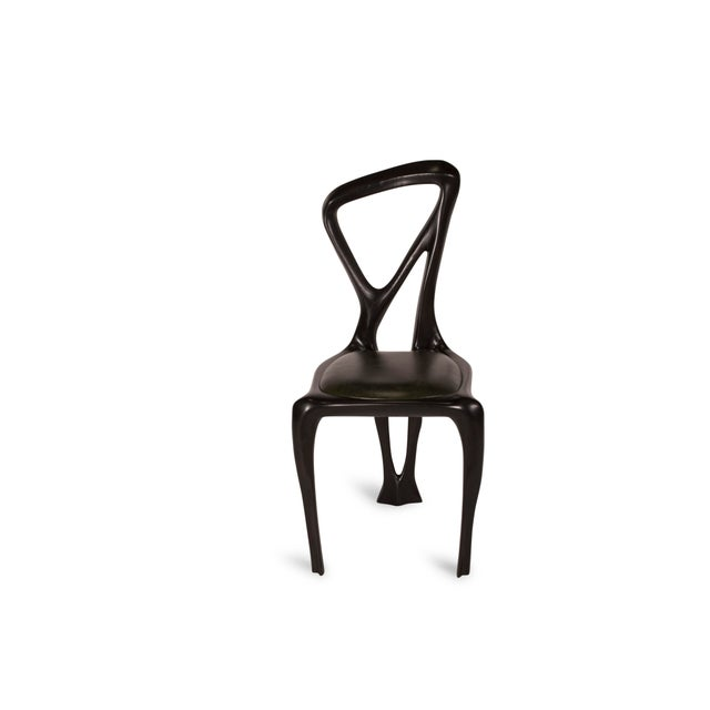 Contemporary Amorph Gazelle Dining Chair in Solid Wood Ebony Stain For Sale - Image 3 of 9