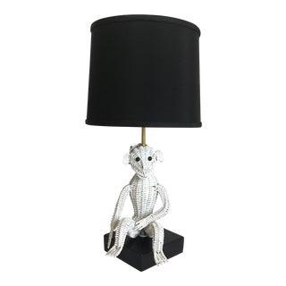 1960s Wicker Monkey Lamp & Shade For Sale