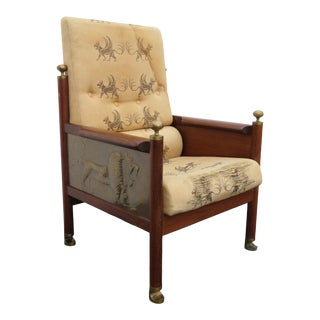Lb Larsen Megiddo Tall Lounge Chair Side Desk Chair With Brass Carved Lion 2184 For Sale