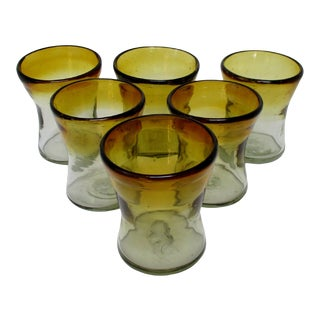 Mexican Double Old Fashion Glasses, Set of 6 For Sale