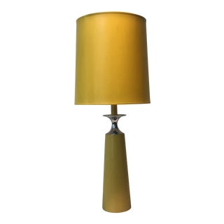Italian Modern Yellow Leather Table Lamp For Sale