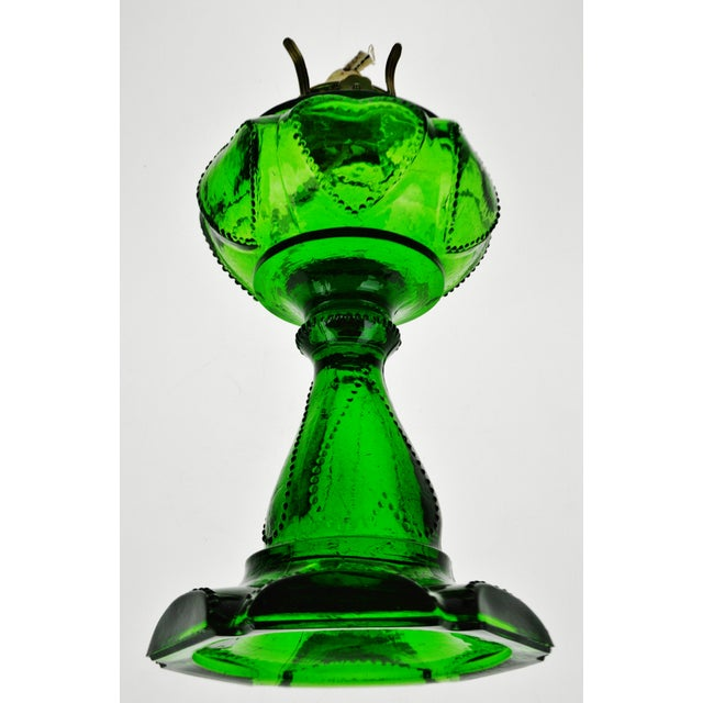 Vintage Emerald Green Glass Oil Lamp W/ Heart Design For Sale - Image 4 of 12