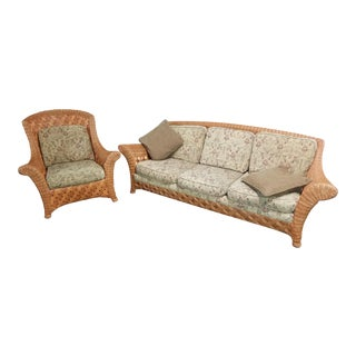 Palalek Woven Wicker Sofa and Chair - 2 Pc. Set