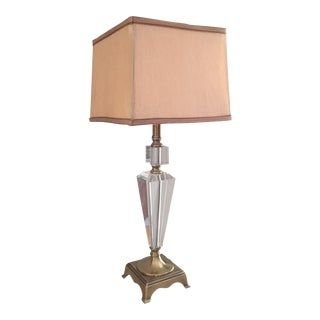 Dale Tiffany Crystal & Brass Table Lamp For Sale