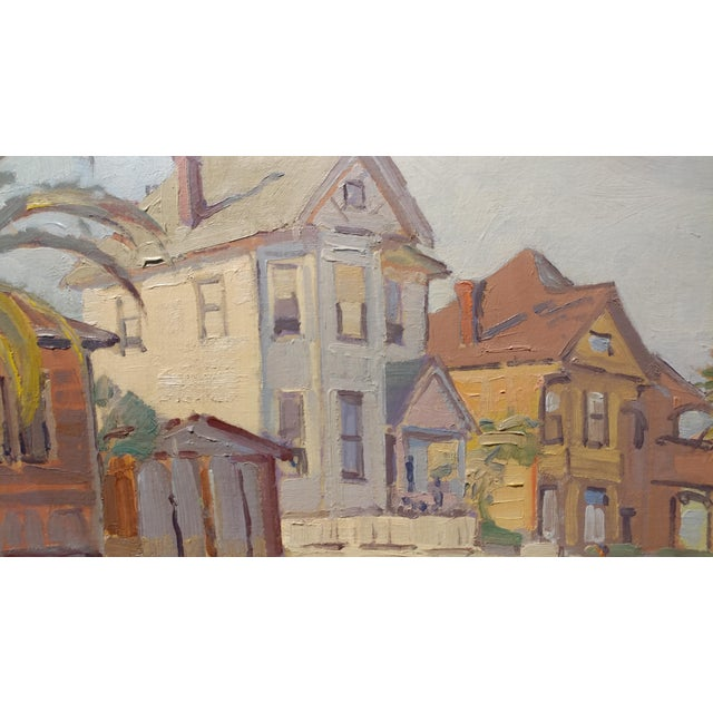 """Mid-Century Modern Fritz Kocher """"Sunset Blvd and Bunkerhill L.A. 1959"""" Original Oil Painting For Sale - Image 3 of 11"""
