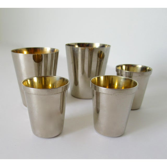 Henkel Harris Vintage German Gentleman's Silver Plate & Gold Lined Traveling Cordial Cups - 5 Pieces For Sale - Image 4 of 13