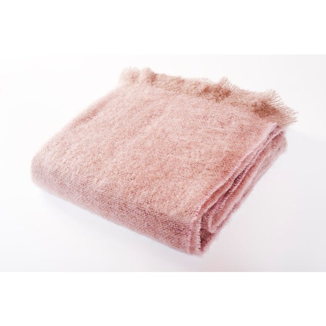 Contemporary Soft Rose Luxe Mohair Throw For Sale - Image 4 of 4