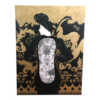 Woman in Black Lace Couture Backless Gown Painting For Sale
