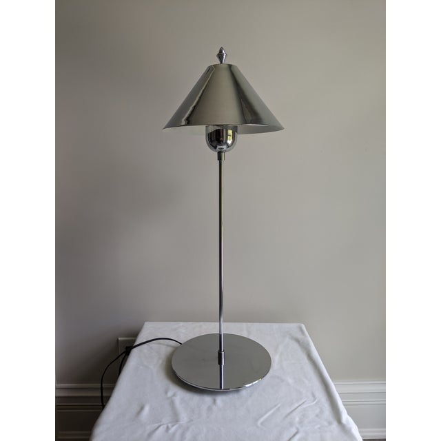 1980s Postmodern Sonneman Style Polished Chrome Table Lamp For Sale - Image 11 of 11
