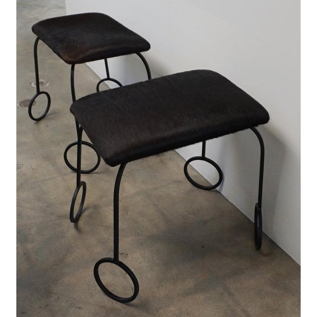Cowhide and Iron Stools For Sale In Palm Springs - Image 6 of 6