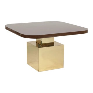 Milo Baughman Thayer-Coggin Brass and Laminate Adjustable Height Table For Sale