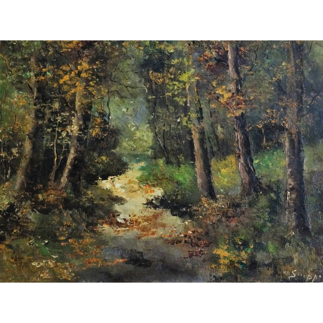 Wooded Path Oil on Canvas Painting - Image 3 of 7