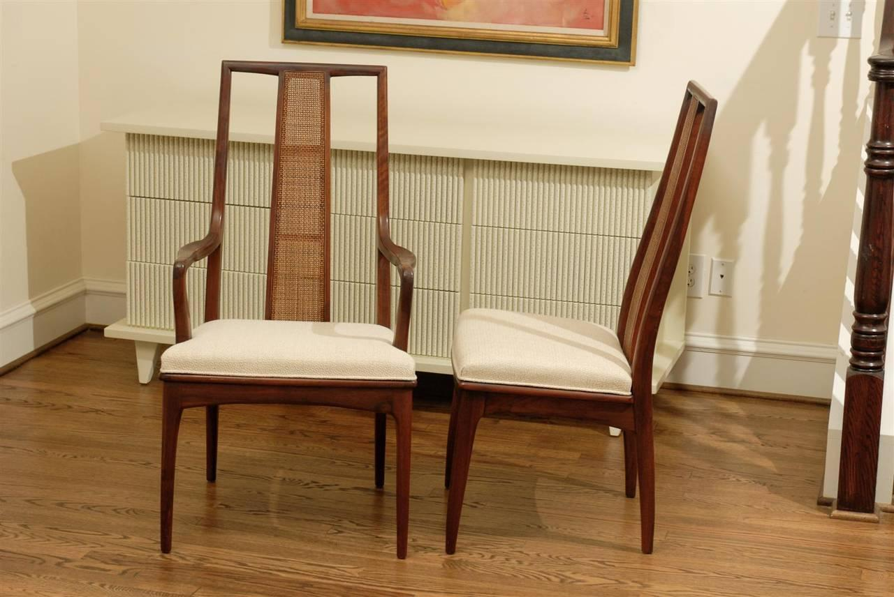Elegant Set Of Six Walnut And Cane Dining Chairs By John Stuart   Image 2 Of