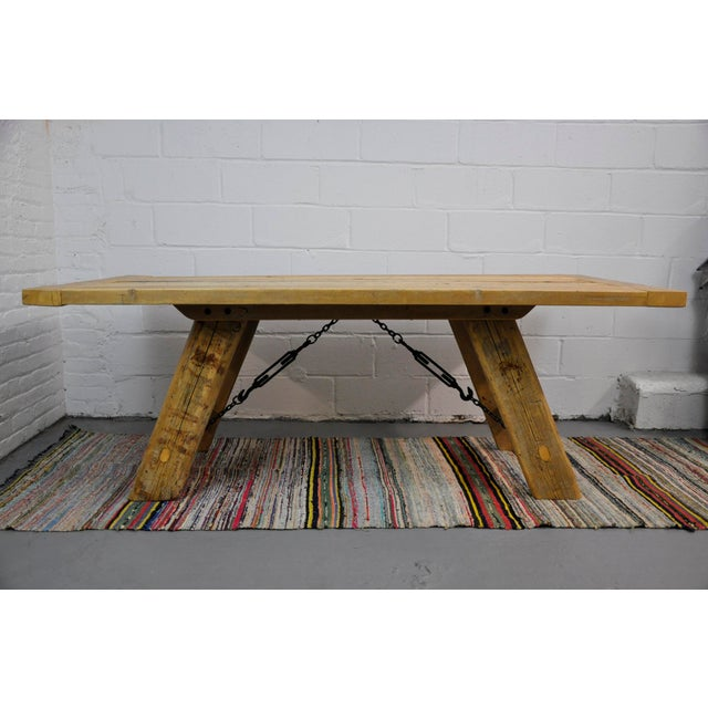 Salvaged Industrial Reclaimed Pine Wood Rustic Dining Table With Metal Elements For Sale - Image 13 of 13