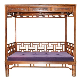 Antique Purple Cushion Chinese Day Bed For Sale