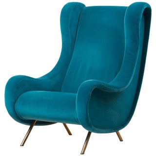 Senior Lounge Chair in Blue Velvet by Marco Zanuso for Arflex, Italy, 1955 For Sale