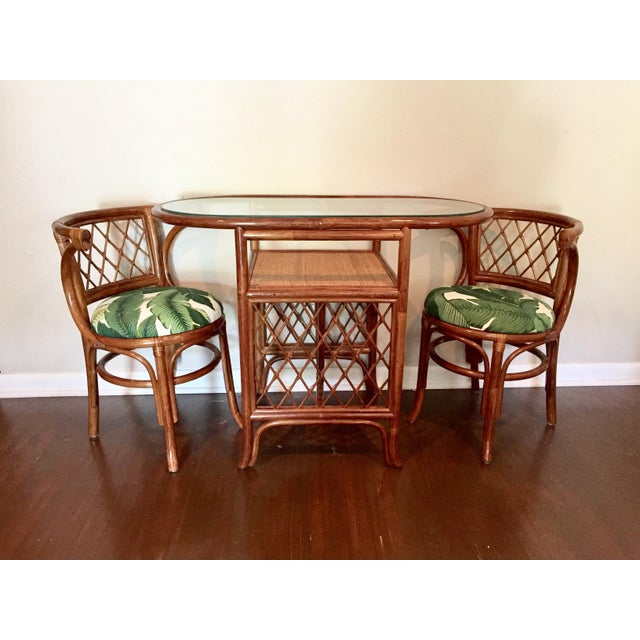 1950s Rattan Bistro Glass Top Table Amp Chairs Set Of 3