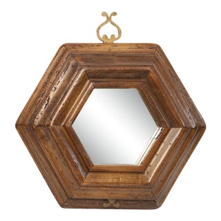 Italian Vintage Hexagonal Mirror For Sale