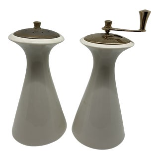 Mid Century Modern Lenox Ceramic and Copper Salt and Pepper For Sale