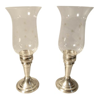 1950s Sterling Silver Hurricane Candle Sticks Whiting With Acid Etched Glass Shades - a Pair For Sale