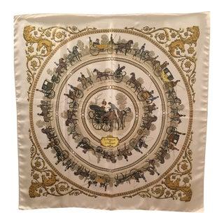 Classic Hermes La Promenade De Longchamps Silk Scarf For Sale