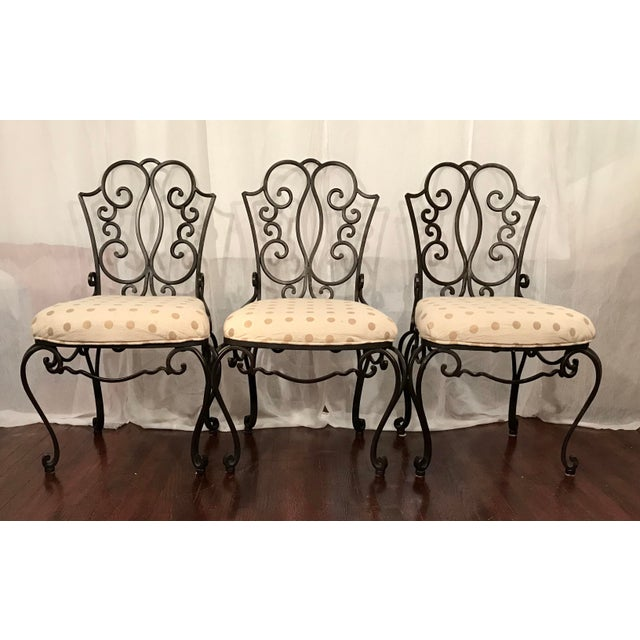 Gilbert Poillerat Mid Century French Wrought Iron Chairs After Jean- Charles Moreux Set of 6 For Sale - Image 4 of 8