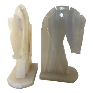 Mid-Century Vintage White Onyx Horse Head Bookends - A Pair