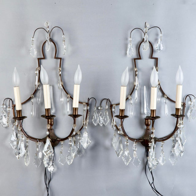 Pair French Delicate Three Light Metal and Crystal Sconces - Image 2 of 6