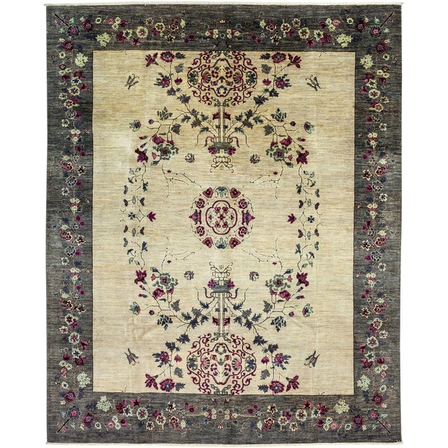 "Suzani, Hand Knotted Ivory Wool Area Rug - 8' 1"" X 10' 0"" - Image 1 of 3"