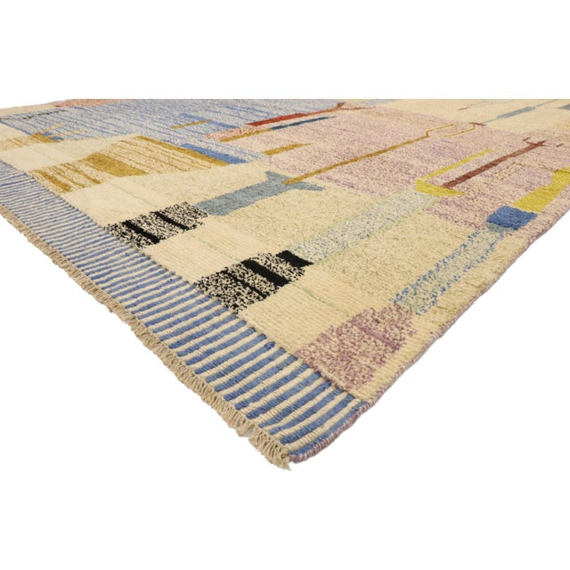 80564 New Contemporary Moroccan Rug with Abstract Cubist Style Inspired by Paul Klee 10'00 x 13'10. Bold, pastel, dark and...