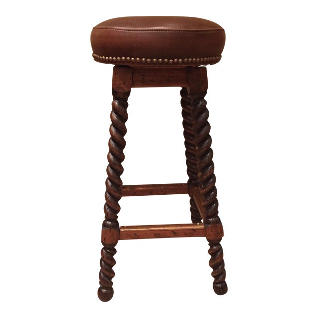Custom Walnut Barley Twist Bar Stool - Image 1 of 11
