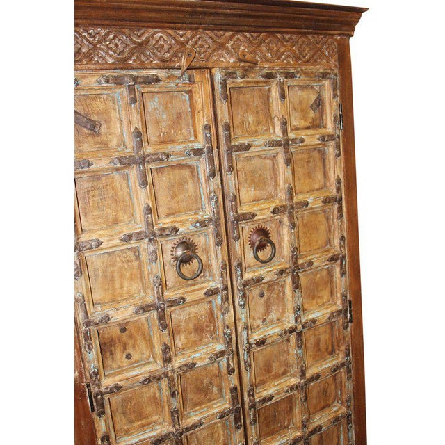1920s 1920s Indian Teak Hand Carved Armoire For Sale - Image 5 of 7