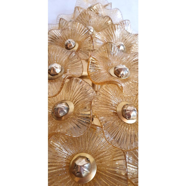 Large Mid-Century Modern Murano Glass Sconces/Flush Mounts Attr to Venini - a Pair For Sale - Image 10 of 11
