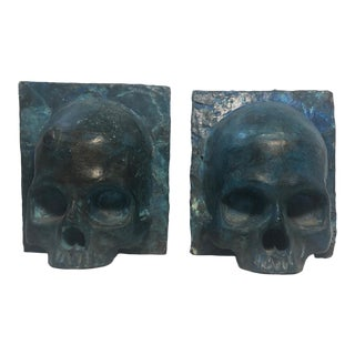 Vintage Bronze Skull Bookends - a Pair For Sale