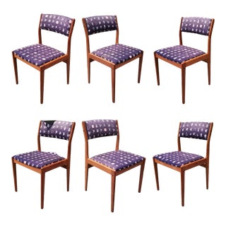 Vintage Danish Modern Style Teak D-Scan Upholstered Dining Chairs - Set of 6 For Sale