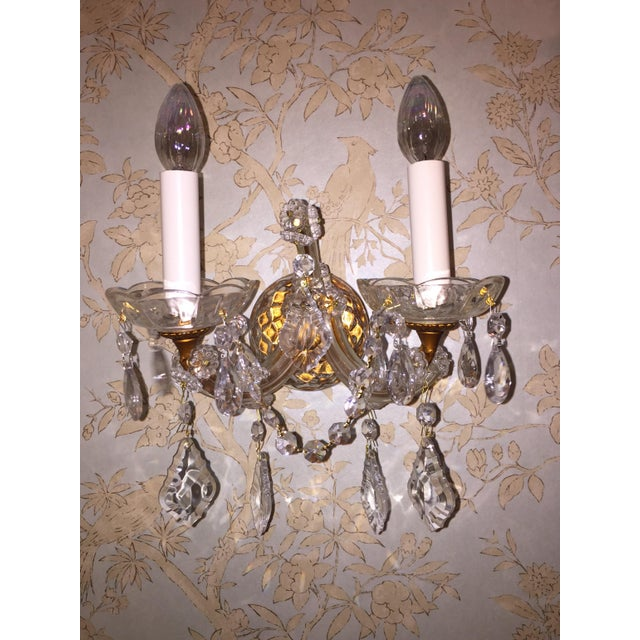 French Crystal Sconces - Pair - Image 6 of 6