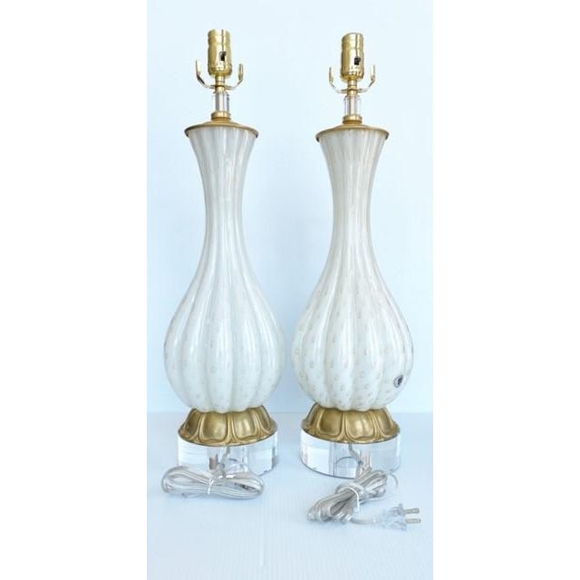 Metal Vintage Gold and White Barbini Murano Lamp Vintage - a Pair For Sale - Image 7 of 9