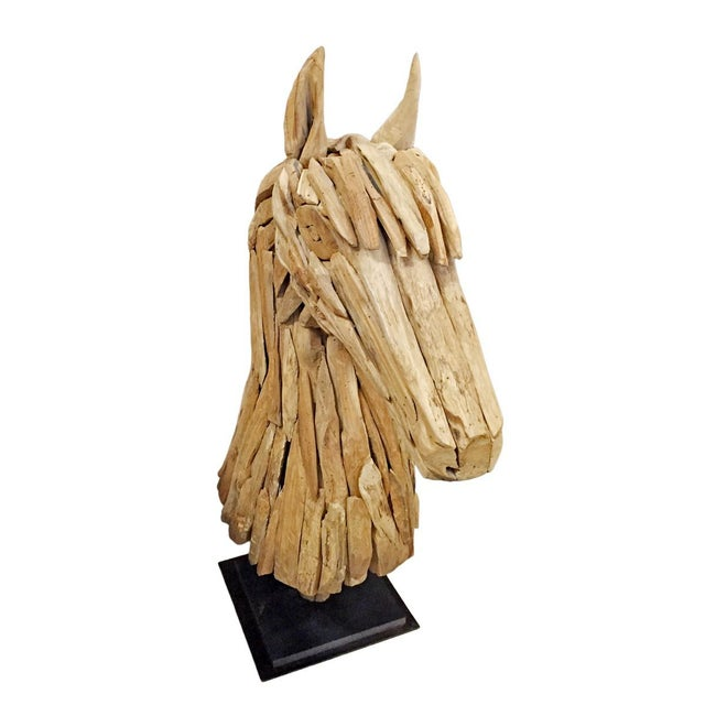 Traditional Salvaged Wood Horse Head Sculpture For Sale - Image 3 of 4