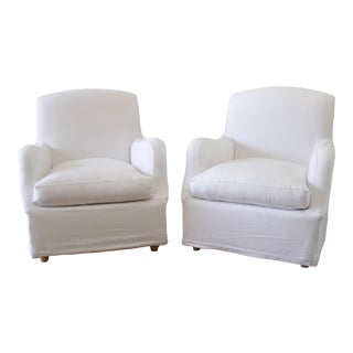 White Linen Slip Covered English Arm Lounge Chair For Sale