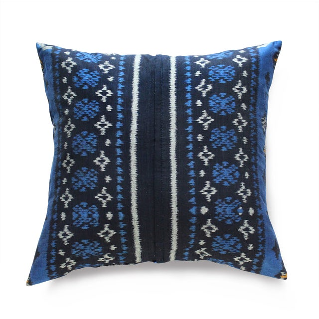 Indigo Handwoven Ikat Pillow From Bali - Image 2 of 6