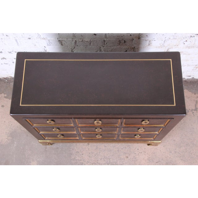 1970s Mastercraft Hollywood Regency Chinoiserie Faux Tortoise Shell and Brass Chest of Drawers For Sale - Image 5 of 13