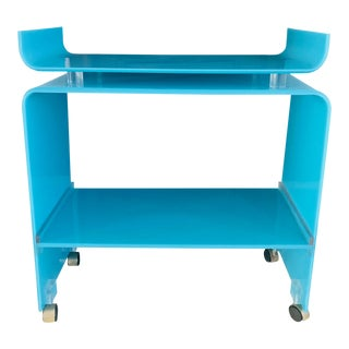 1960's Mid-Century Blue Lucite Bar Cart For Sale