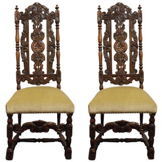 Pair of French Carved Walnut Hall Chairs, Circa 1840 For Sale